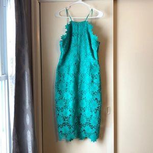 Bisou Bisou teal lace halter dress